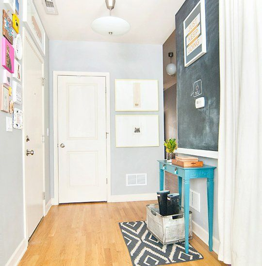Bright Foyer Colors : Bright entryway with chalkboard half wall gallery