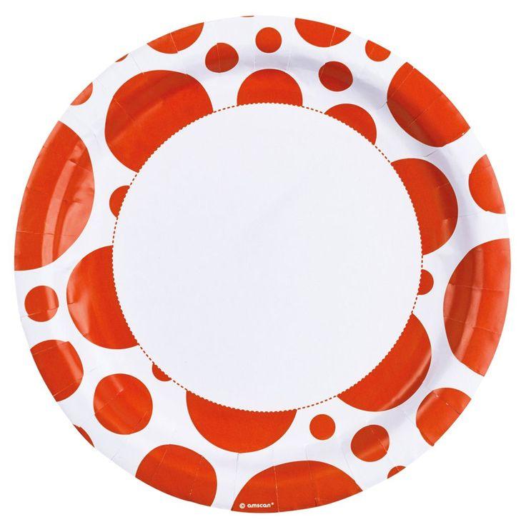 Talerzyki papierowe w pomarańczowe kropki doskonałe do dekoracji na wieczór panieński.