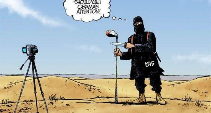 Arguably The Best Obama Political Cartoon Ever. This political cartoon comes just after President Barack Obama fled the press conference podium, where he denounced the beheading of American journalist James Foley by ISIS, to play yet another game of golf.