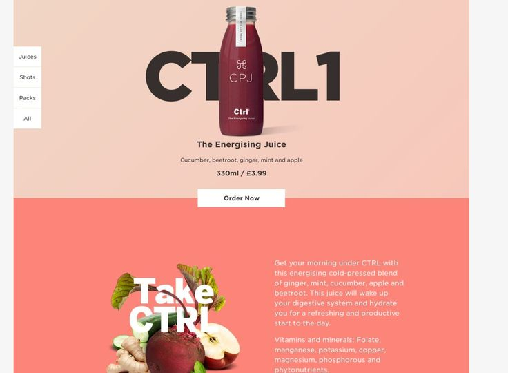 I like how straight forward this is, for customer usability. Order here. Shots., etc. Again, asymmetrical balanced (playful) images and still simple. (Don't love the color scheme - would like better if the images were the only pop of color)