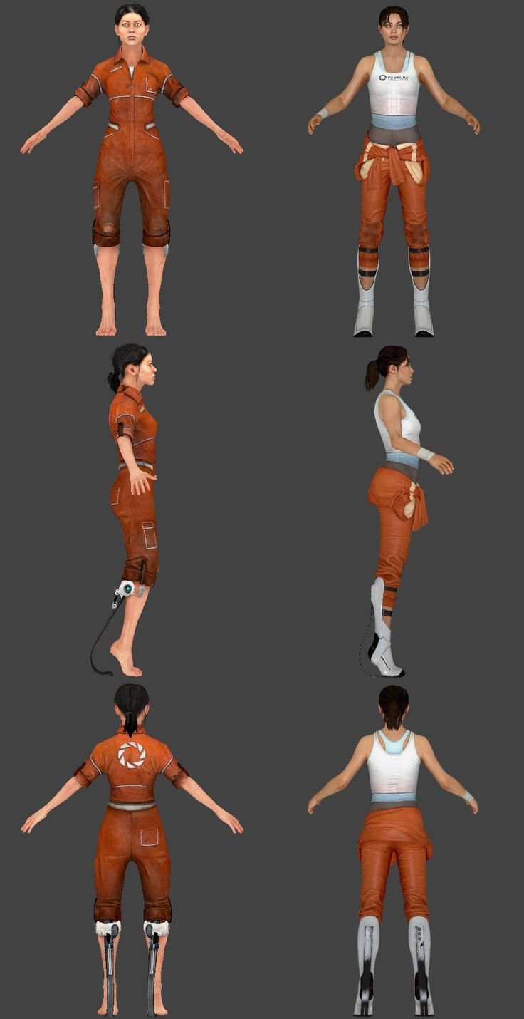 Chell reference sheet, both Portal and Portal 2. | Geekery ...