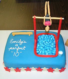 I made this for my daughter's 10th birthday.  She had her party at the gymnastics center where she practices.
