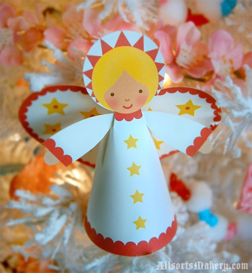 Starry Christmas Angels ~ a sweet paper printable to make