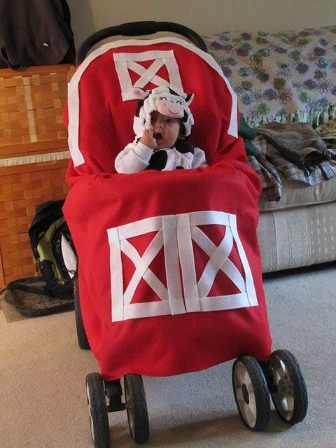 Cow in the Barn Halloween Stroller Costume | Flickr and other adorable halloween stroller costumers!