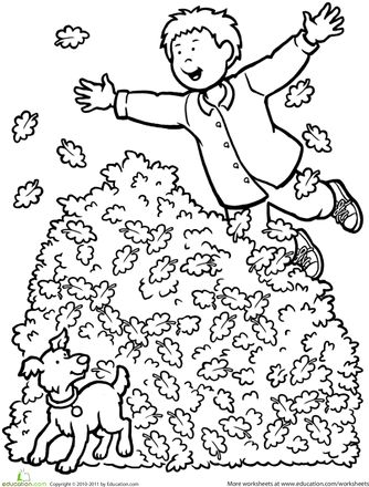 Fall kindergarten people nature worksheets fall leaf coloring page