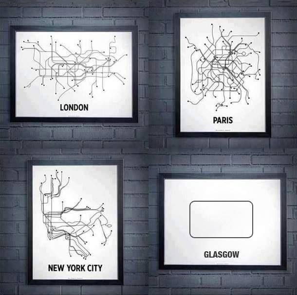 London, Paris, New York and Glasgow Undergrounds.: Funny Pics, Toronto Subway, Favorite Places, Subway Wall, Funny Pictures, Graphics Design, Funny Photos, New York City, Subway Maps