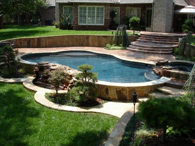 25 best ideas about ground pools on pinterest above for Pool deck landscaping