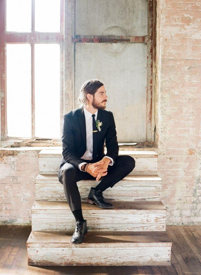 Stylish groom: http://www.stylemepretty.com/new-york-weddings/hudson-new-york/2016/02/09/elegant-industrial-wedding-at-the-pocketbook-factory/   Photography: Elena Wolfe - http://elenawolfe.com/