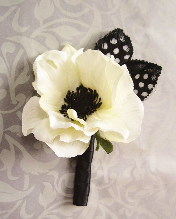 Anemone Wedding Boutonniere/Corsage by EmilyKBotanicStudio on Etsy, $13.00 YESSSSSSS