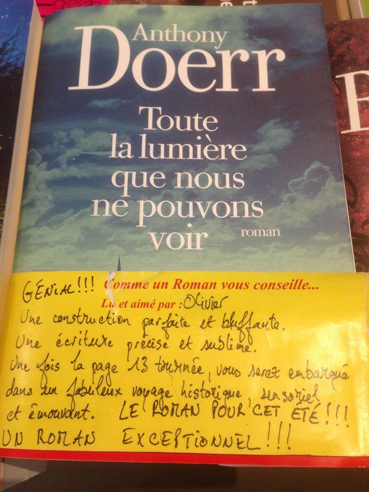 """Avis de la librairie Comme un roman (Paris) à propos du livre """"Toute la lumière que nous ne pouvons voir"""" d'Anthony Doerr. Découvrir le livre sur http://www.albin-michel.fr/Toute-la-lumiere-que-nous-ne-pouvons-voir-EAN=9782226317186."""