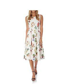 Botanical Floral Print Party Dress