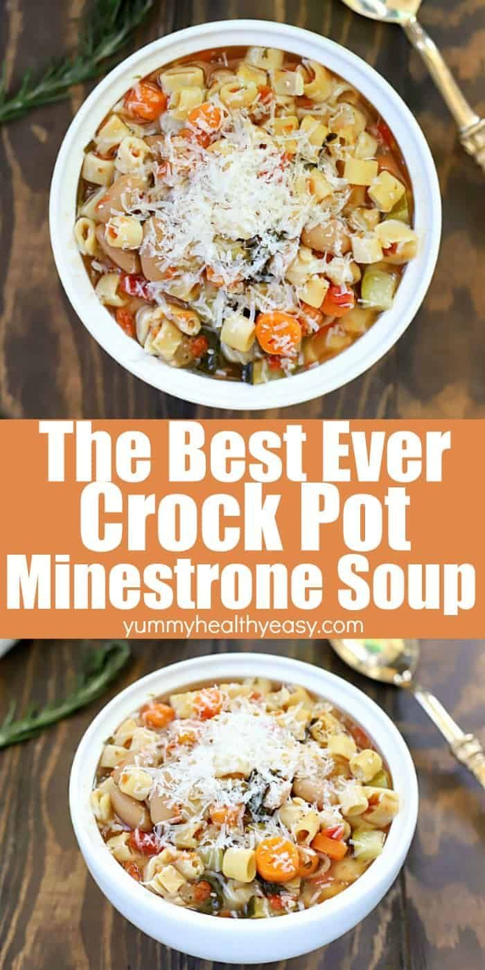 This Really Is The Best Crock Pot Minestrone Soup Toss Everything Into The Slow Cooker F Vegetarian Crockpot Crockpot Soup Recipes Vegetarian Crockpot Recipes
