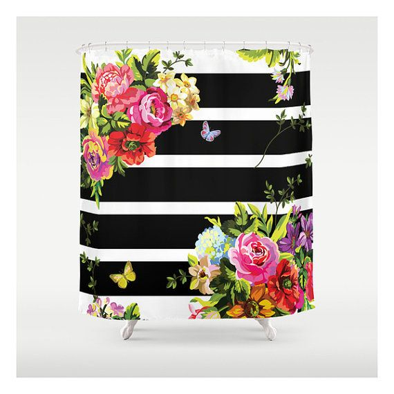 Bright Florals Black & White Stripes - Custom Made - Shower Curtains - Unique Shower Curtains - Bathroom Accessories