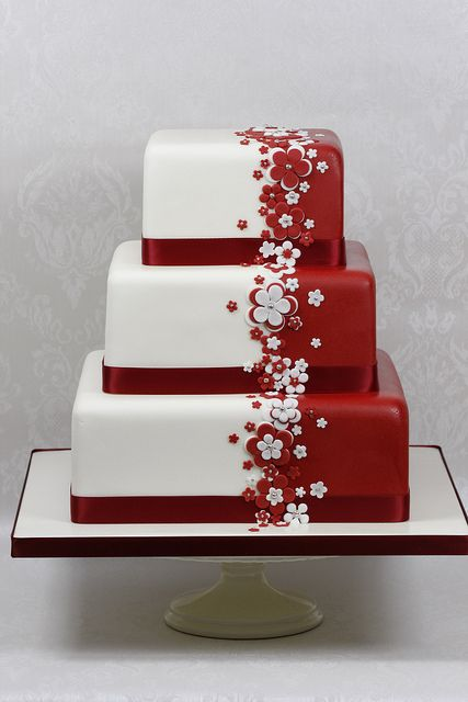 Red & White Flower Wedding Cake - for Ruby anniversary