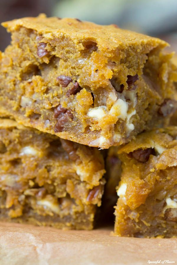 Pumpkin Blondies on OhSweetBasil.com - easy, flavorful and delicious! recipe by @spoonfulflavor