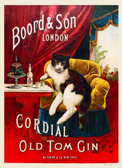 CORDIAL OLD TOM GIN Vintage Advertising Poster - TOM CAT - Very Nice