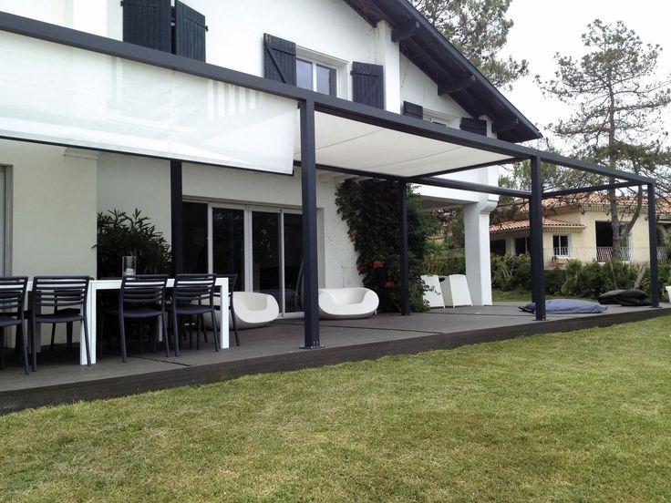 Self-supporting pergola / aluminum / PVC fabric sliding canopy - ID2 DESIGN - IDÉEÀ TERRASSE - Abritez-vous chez nous