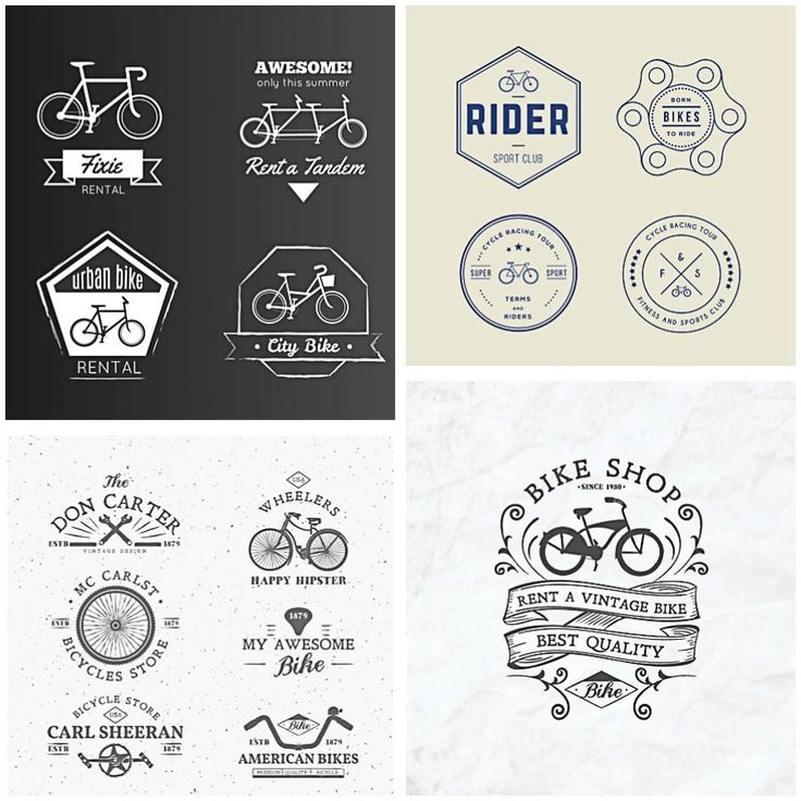 Compilation of vectors with retro bicycles logos and badges for rental services and personal designs. Free for download.