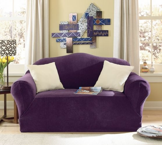 Purple Stretch Piqu Slipcovers From Midnight Velvet Comes In Sofa Loveseat Chair Recliner