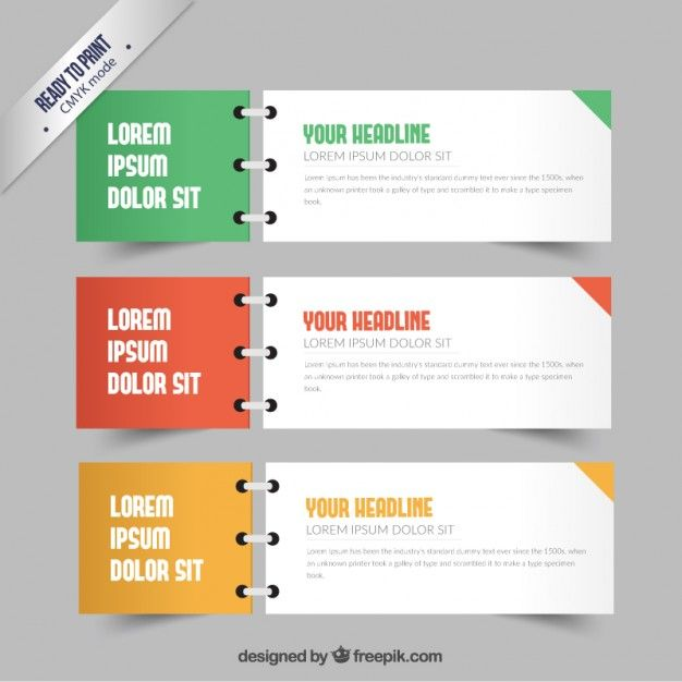Banners in notebook style Free Vector