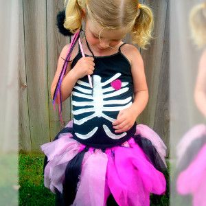 The Girly Skeleton Homemade Halloween Costume is absolutely adorable, unique, and fun!