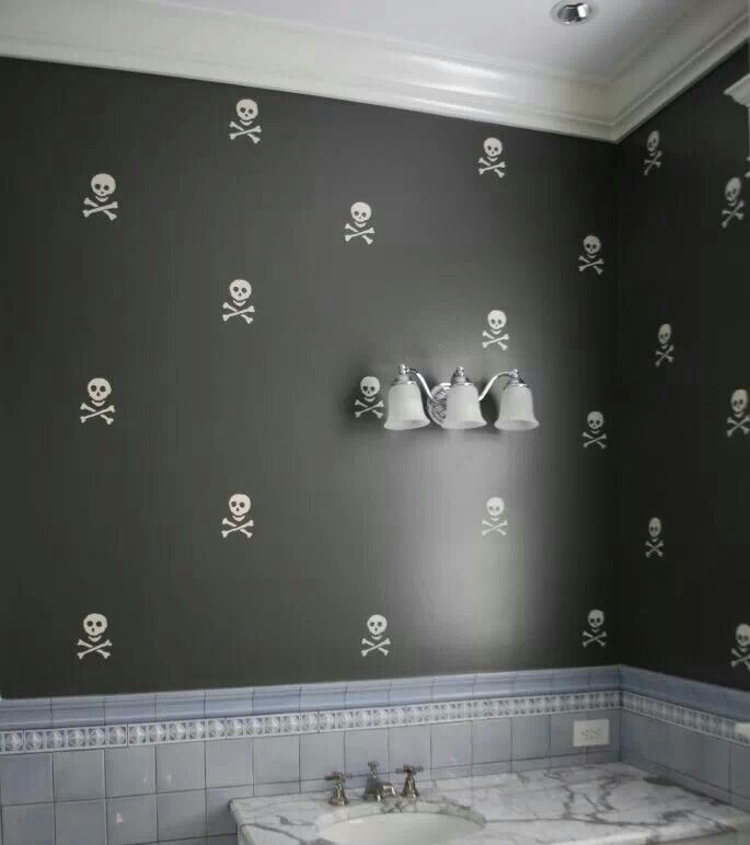 Awesome Stenciled Skull Wall Decor. LOVE This!