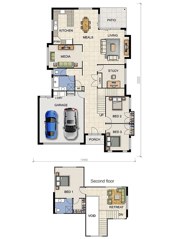Study behind living/door to go where stairwell is/garage becomes bedroom
