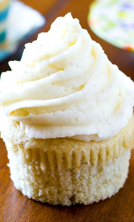 Very Vanilla Cupcakes with Vanilla Bean Frosting Recipe ~ No frills, nothing fancy, just pure goodness.