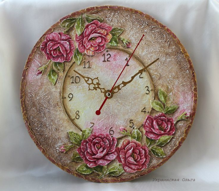роспись + объём...You can cut out a round clock with a box cutter CAREFULLY and decopauge a clock face on it then add those clock parts sold cheap at many places.