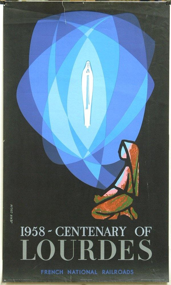 Lourdes (France) 100 Year Anniversary #travel #poster 1958
