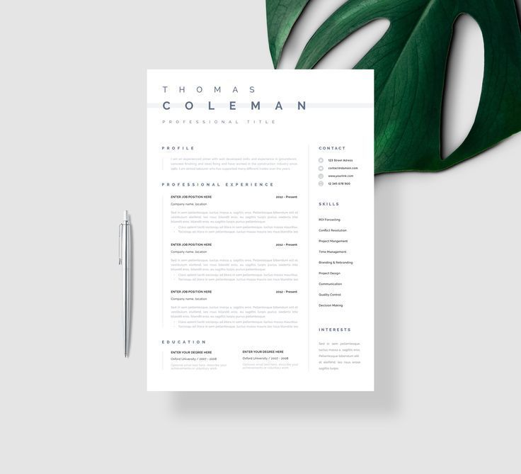 Resume Template Instant Download Word And Pages Simple Resume Professional Cv Template For Word Pages Cv Design Curriculum Vitae Resume Mac In 2021 Simple Resume Simple Resume Template Resume Template Professional