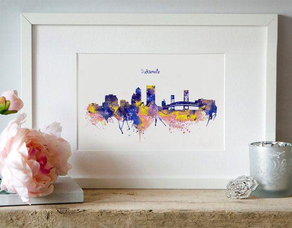 Jacksonville Skyline City silhouette Contemporary by Artsyndrome