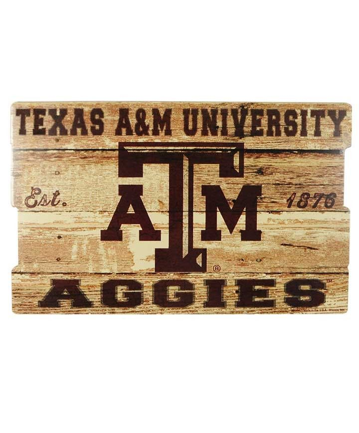 Texas A&M Aggies 19x30 Wood Fence Sign