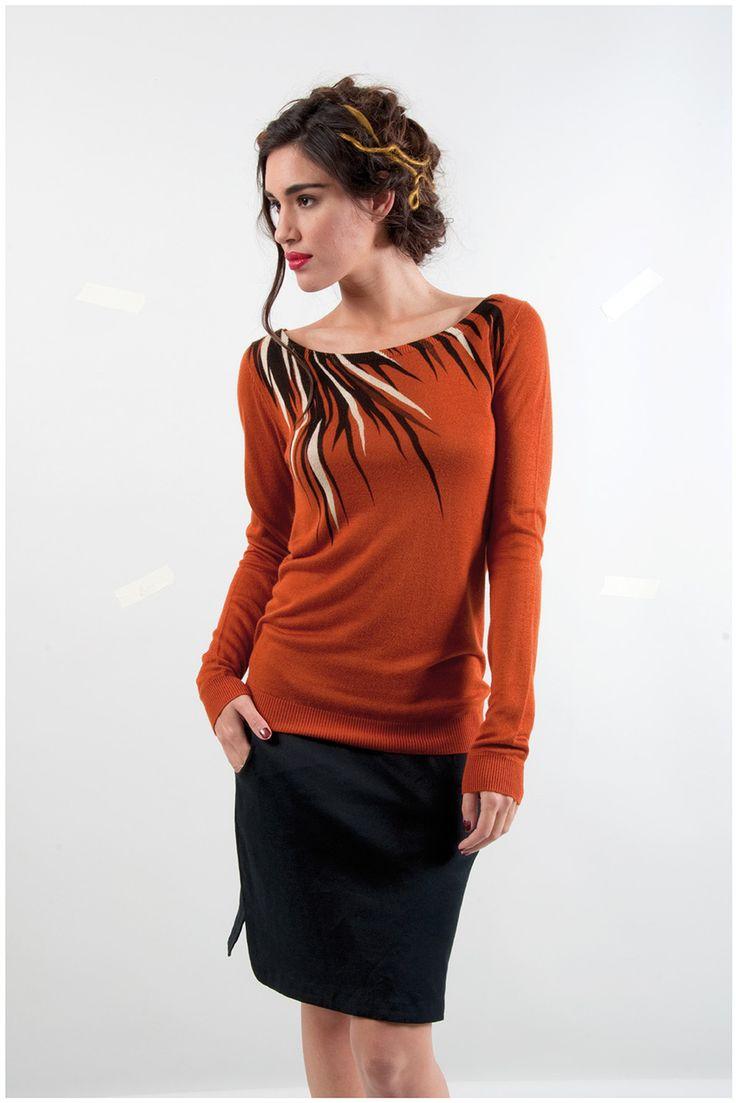 ROZENN-058 SKUNKFUNK women's sweater fabric content: 100% viscose color: black,brown price: $109.00