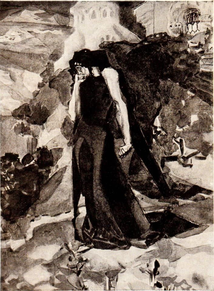 """Mikhail Vrubel - Demon at the walls of the monastery. Illustration to the poem MY Lermontov's """"Demon"""". N, 1890-91"""