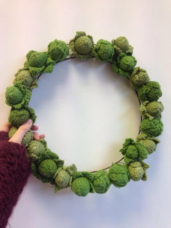 Knitted Brussels Sprout Wreath
