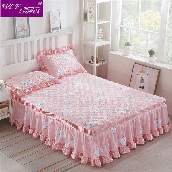 Korean cotton wool cotton bed skirt single piece lace bed cover cotton and cotton thickening matte mattress protection bed sets