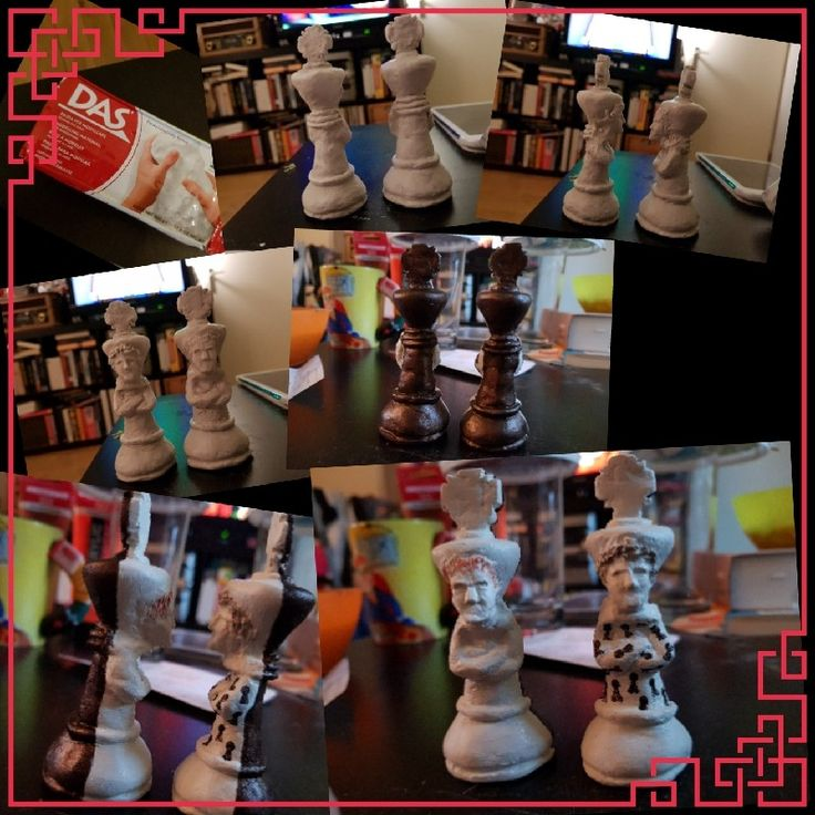 Chess pieces for collegues made from clay