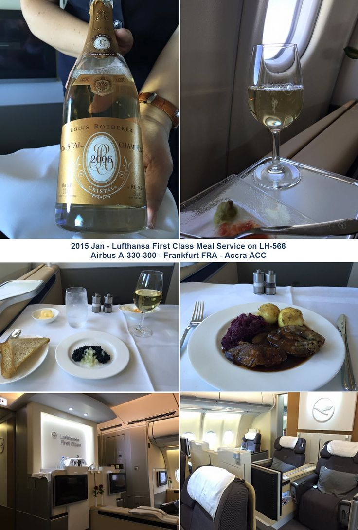 2015 Jan - Lufthansa First Class Meal Service Airbus A330-300  Frankfurt FRA - Accra ACC. Appetizer: Caviar Service. Main Course : Free Range Goose flavored with four Spices Orange Sauce Joachim Wissler Red Cabbage - Potato Dumplings
