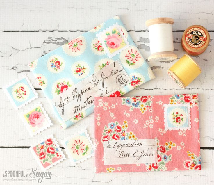 pretty floral fabric envelopes