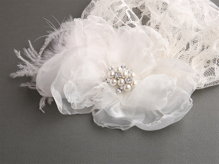 Lace Bridal Cap with Ivory Organza Flower & Feather Hair Clip