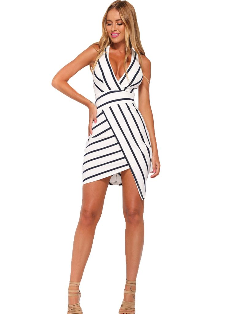 Black White Stripes Body Wrap Plunging V Dress_Mini Dress_Dresses_Sexy Lingeire | Cheap Plus Size Lingerie At Wholesale Price | Feelovely.com