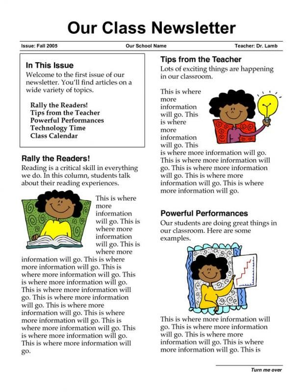 sample of school newsletters