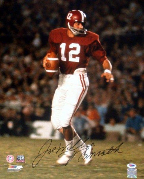 This is an 16x20 Photo that has been hand signed by Joe Willie Namath. The autograph has been certified authentic by PSA/DNA and comes with their sticker and matching certificate.