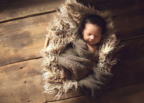 PACKAGE Brown and Tan Curly Fur Blanket and Baby Wrap in Brown, Great for Photo Prop