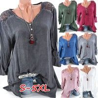 Wish | Women Fashion Sexy V-neck Lace Patchwork Pure Color Casual Blouse