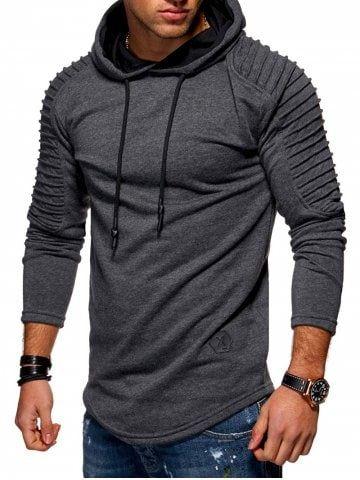 Solid Pleated Sleeve Hem Curved Long Fleece Hoodie en 2018  7253db2264a