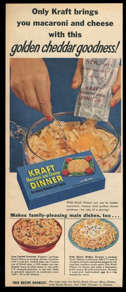 1959 Kraft Macaroni and Cheese color photo vintage print ad #KraftDinner
