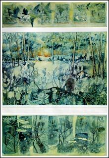 On Knott Hill and in the Onkeeta Forests - An etching by Janet Ayliffe. I love Janet's work there is the most intricate detail of flora & fauna and her colour palette is wonderful. S