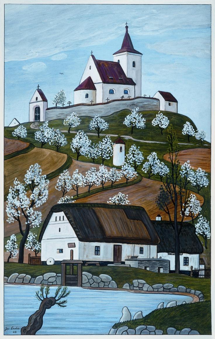 Czech ~ Josef Lada ~ House on a Hill, art naif